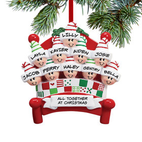 Personalized Bed Family 10 Christmas Ornament