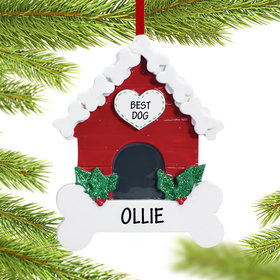 Personalized Dog Bone Doghouse Christmas Ornament