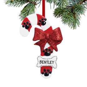 Personalized Dog Candy Cane with Bone Christmas Ornament