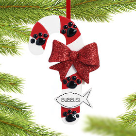 Personalized Cat Candy Cane with Fish Christmas Ornament