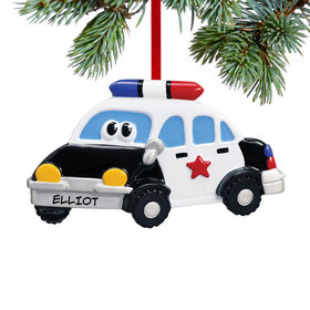 Personalized Police Car with Eyes Christmas Ornament