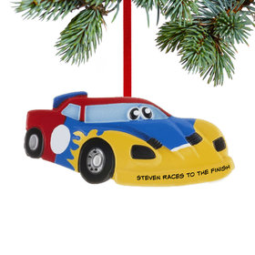 Personalized Race Car with Eyes Christmas Ornament