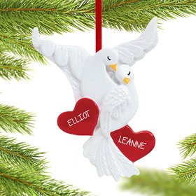 Personalized Love Doves Couple Christmas Ornament