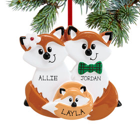 Personalized Fox Family of 3 Christmas Ornament