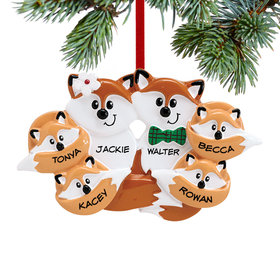 Personalized Fox Family of 6 Christmas Ornament