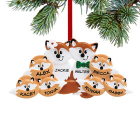 Personalized Fox Family of 8 Christmas Ornament