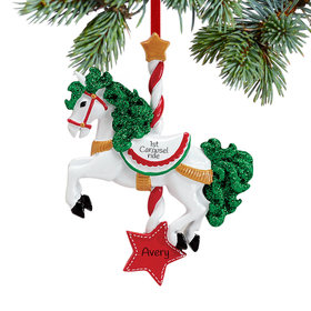 Personalized Carousel Horse Christmas Ornament