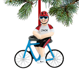 Personalized Cyclist Boy Christmas Ornament