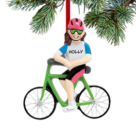 Personalized Cyclist Girl Christmas Ornament