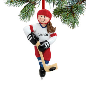 Personalized Hockey Girl Christmas Ornament
