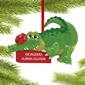 Personalized Green Alligator Christmas Ornament