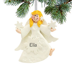 Personalized Glitter Snowflake Angel Christmas Ornament