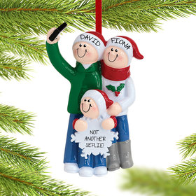 Personalized Selfie Family of 3 Christmas Ornament