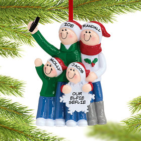 Personalized Selfie Family of 4 Christmas Ornament