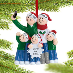 Personalized Selfie Family of 5 Christmas Ornament