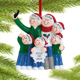 Personalized Selfie Family of 6 Christmas Ornament