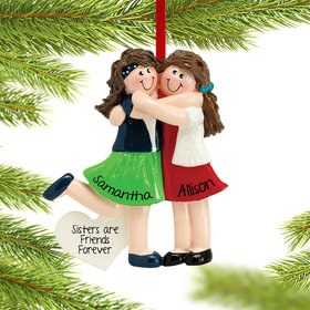 Personalized Two Friends or Sisters Christmas Ornament