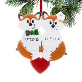 Personalized Fox Couple Christmas Ornament