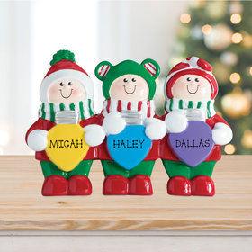 Personalized Christmas Lights Tabletop Family of 3 Christmas Ornament