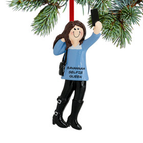 Personalized Selfie Girl Christmas Ornament