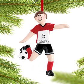 Personalized Soccer Boy Christmas Ornament
