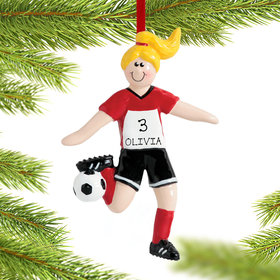 Personalized Soccer Girl Black Shorts Christmas Ornament