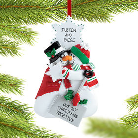 Personalized Snowman Nose Kisses Couple Christmas Ornament