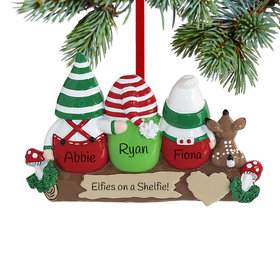 Personalized Idle Elves Family of 3 Christmas Ornament