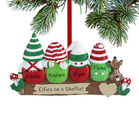 Personalized Idle Elves Family of 4 Christmas Ornament