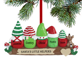 Personalized Idle Elves Family of 5 Christmas Ornament