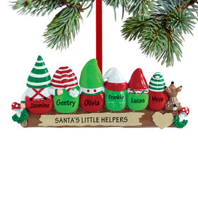 Personalized Idle Elves Family of 6 Christmas Ornament
