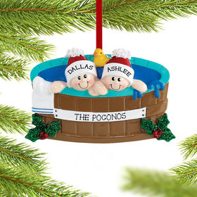 Personalized Hot Tub Couple Christmas Ornament