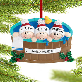 Personalized Hot Tub Family of 3 Christmas Ornament