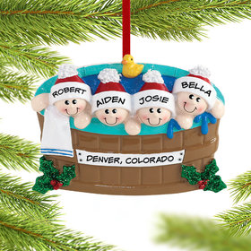 Personalized Hot Tub Family of 4 Christmas Ornament