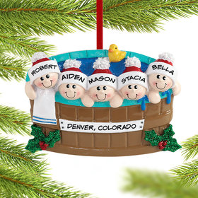 Personalized Hot Tub Family of 5 Christmas Ornament