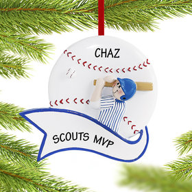 Personalized Baseball Male Christmas Ornament