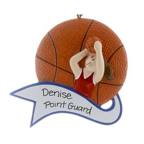 Personalized Basketball Female Christmas Ornament