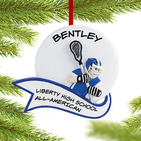 Personalized Lacrosse Male Christmas Ornament