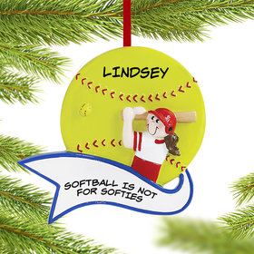 Personalized Softball Player Female Christmas Ornament