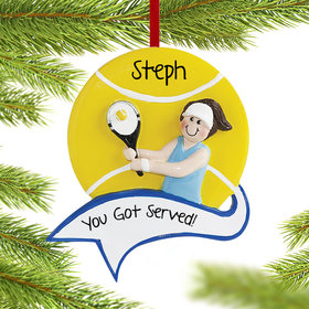 Personalized Tennis Female Christmas Ornament