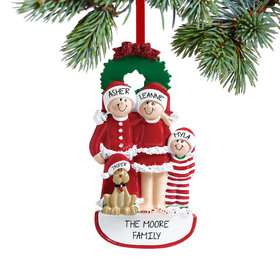Personalized Christmas Eve Family of 3 with Dog Christmas Ornament