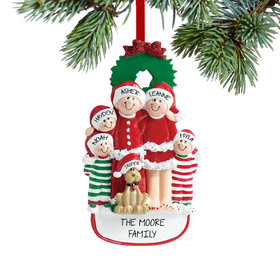 Personalized Christmas Eve Family of 5 with Dog Christmas Ornament