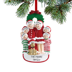 Personalized Christmas Eve Family of 6 with Dog Christmas Ornament