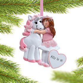 Personalized Birthday Girl with Unicorn Christmas Ornament