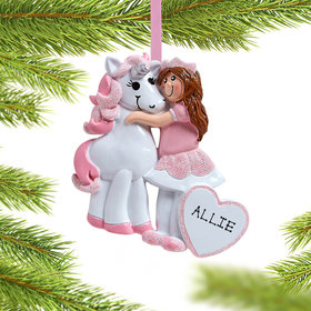 Personalized Girl with Unicorn Christmas Ornament