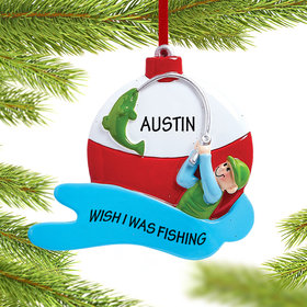 Personalized Fishing Guy Christmas Ornament
