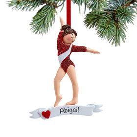Personalized Gymnast in Red Leotard Christmas Ornament