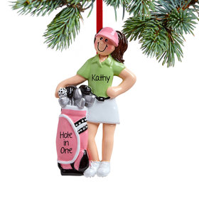 Personalized Female Golfer with Golf Clubs Christmas Ornament