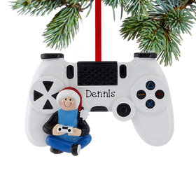 Personalized Gamer with Video Game Controller Christmas Ornament