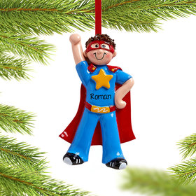 Personalized Superhero Boy Christmas Ornament